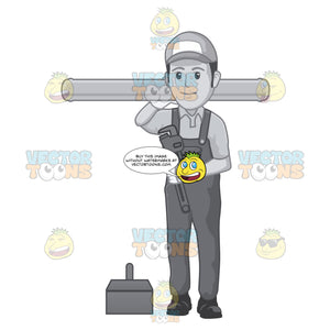 Grayscale Plumber Wearing Overalls Carrying Pipe Over Right Shoulder