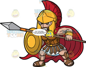 Ares The God Of War. Olympian God Ares dressed in battle armour holding a spear and shield