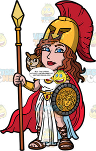 Athena The Goddess Of War And Practical Skills. The beautiful goddess Athena wearing a helmet, and holding a spear and shield, with an owl sitting on her shoulder