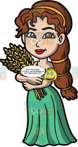 Demeter The Goddess Of The Harvest. The beautiful Greek goddess Demeter holding stalks of grain in her hands