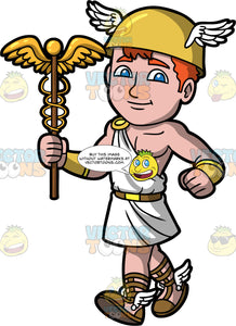 The Greek God Hermes. Hermes the Greek god of trade, wealth, luck, fertility, thieves, and travel, with winged sandals, a winged helmet, and holding a caduceus in his hand