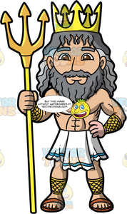 Poseidon The God Of The Sea. The Greek God Poseidon, god of the sea, wearing a gold crown and holding a trident in his hand