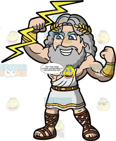Zeus King Of The Gods. Zeus the Greek God of the sky and thunder holding a lightning bolt in his hand