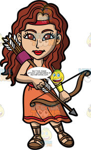 The Goddess Artemis. Beautiful Artemis the Greek goddess of hunting, wild nature, and chastity holding a bow and arrow