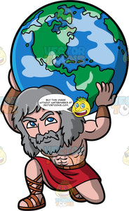 The Titan Atlas. The Titan Atlas holding the world on his shoulders