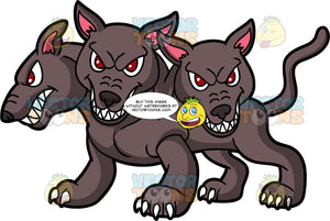 Cerberus The Hound Of Hades. A vicious looking three-headed dog from Greek mythology that guards the gates of Hades