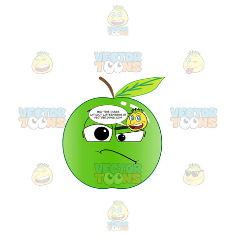 Green Apple Frowning In Doubt Emoji