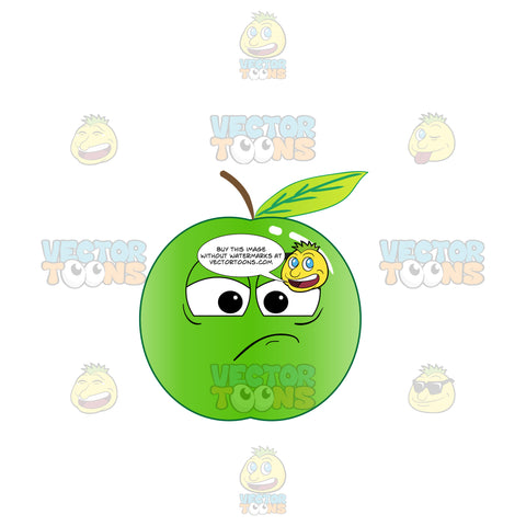Green Apple Sulking And In A Bad Mood Emoji