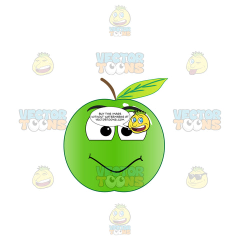 Green Apple With Smiling Face Looking At Camera Emoji