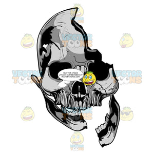 Grey Skull With Broken Mandiable And Hole In Cranium