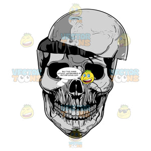 Grinning Grey Skull With Head Portion Cut Open Exposing Empty Skull Cranium
