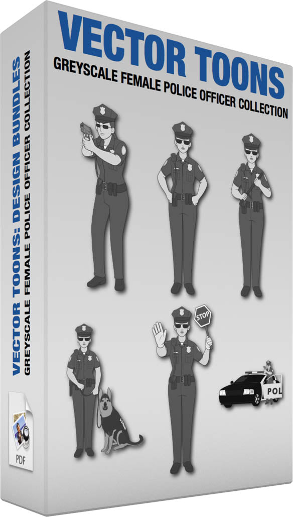 Greyscale Female Police Officer Collection