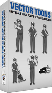 Greyscale Male Police Officer Collection