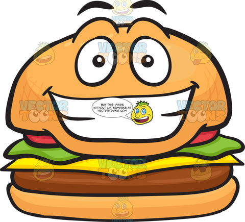 Grinning Cheeseburger Showing Pearly Whites