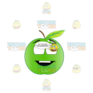 Grinning Green Apple Looking Above Emoji