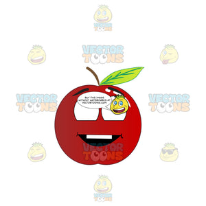 Grinning Red Apple Looking Above Emoji