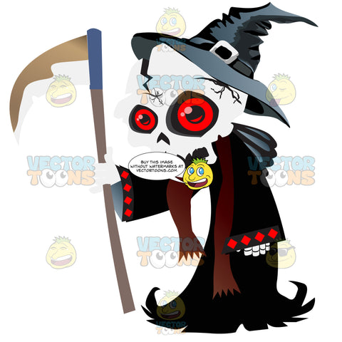Red-Eyed Skeleton Dressed As Death With Scythe, Long Black Robe And Witch'S Hat