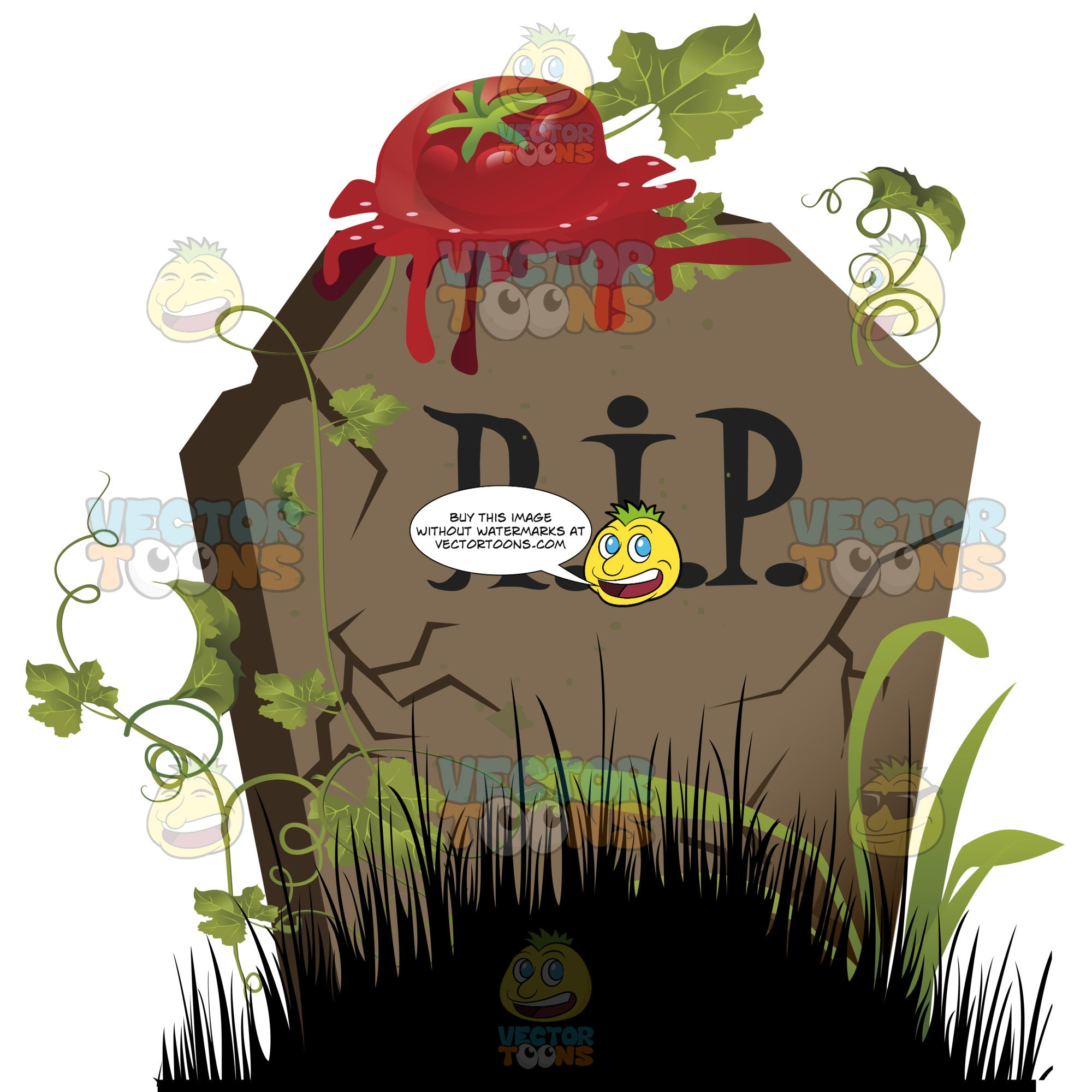 Cracked Gravestone With Squashed Tomato On Top Of It, 'R.i.p.' Written On Grave Marker, Surrounded By Green Vines, Tall Black Grass