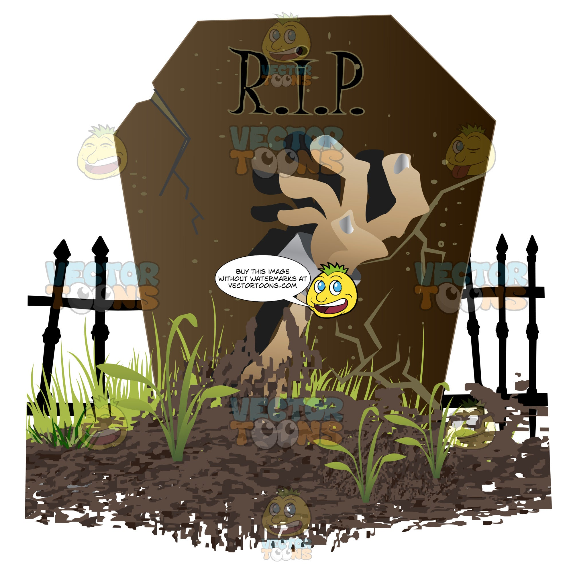 Undead Hand Rising From Out Of Dirt In Front Of Grave Stone With 'R.i.p.' With Wrought Iron Gate In Background