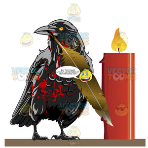 Black Demonic-Looking Raven Holds A Feather In Its Beak, Splattered With Red Blood Stands Next To Red Lit Candle
