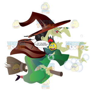 Green Witch With Open Mouth Full Of Sharp Pointy Teeth, Rides A Broomstick With One Arm Outreached, Bubbles