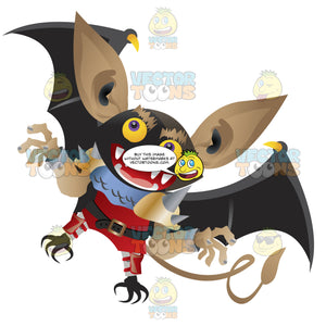 A Flying Black Bat Dressed In A Pirate'S Outfit With Human Arms And Hands