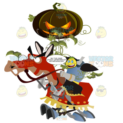 A Headless Horsemen Gallops On An Orange Covered Horse While Holding An Evil Lit Jack-O'-Lantern Pumpkin Above It'S Body Covered In Vines