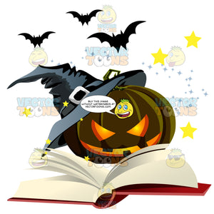 An Evil-Looking Carved Jack-O'-Lantern Pumpkin Reads A Book While Bats Fly In The Background Starlit Sky