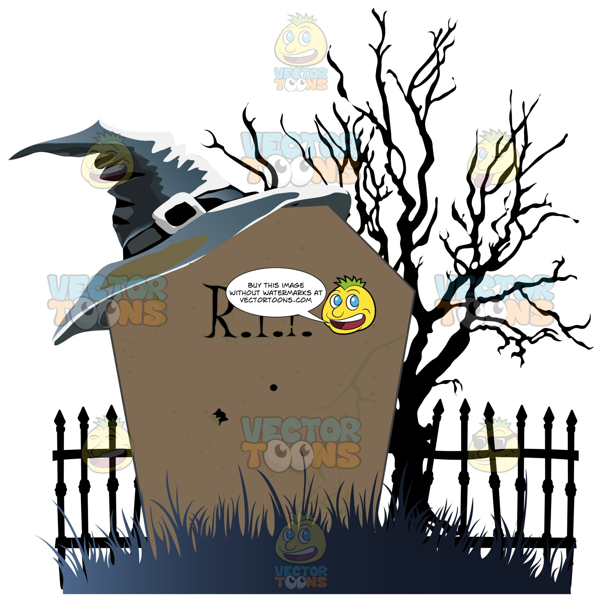 Night Time Halloween Scene – A Leafless Black Tree Stands By A Wrought Iron Cemetery Gate With An Old Fashioned Grave Stone Rip, With A Pointed Witch'S Hat On It