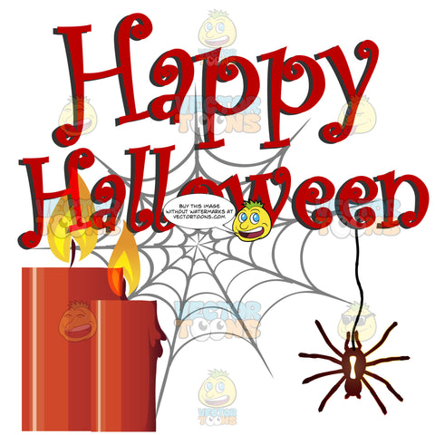 Happy Halloween In Red Curly Type With Red Lit Candles And Spider On Grey Spider Web