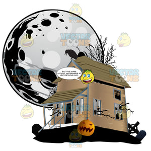 Halloween Scene – A Haunted House Sits With Cemetery Grave Stones, Pumpkins And Ravens, A Ghostly Full Moon Hangs Large In The Background Sky
