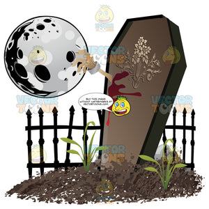 Halloween Scene – An Undead Arm Smashes Out Of A Standing Coffin In A Grave Yard With Dripping Blood And A Full Moon