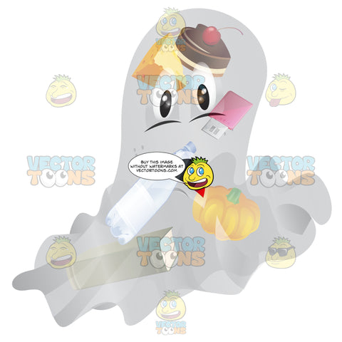 A Ghost Looking Distressed With Food And Various Items Seen Inside Him