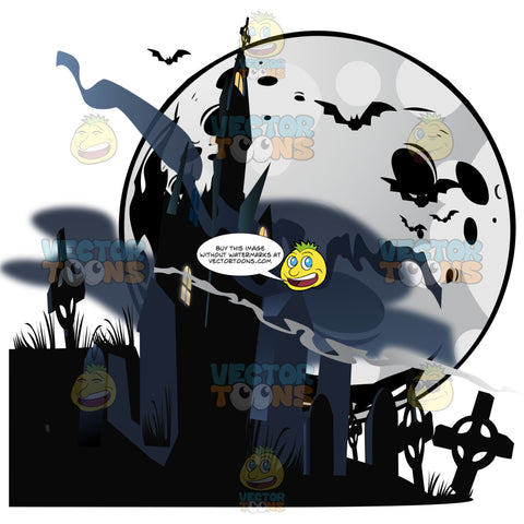 Halloween Scene – A Black Shadowy Haunted House Sits In Dark Fog Mist Surrounded By Cemetery Grave Stones With A Moon And Bats In Background