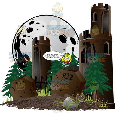 Two Grave Stones Mark A Freshly Dug Grave With Dirt With Brown Castle Turrets Among Pine Trees And Moon Halloween Scene -