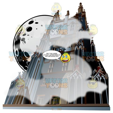 A Tall Creepy Haunted Gothic Church Castle House Is Shrouded In Mist Fog With A Full Moon