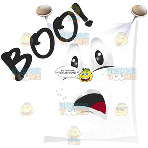 Ghost White Sheet Spread Flat And Pinned To Wall With Face And Word 'Boo!'