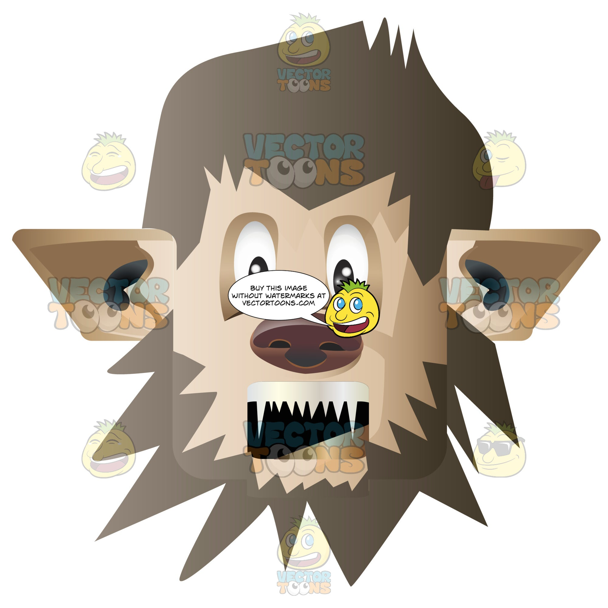 Werewolf Man Face With Brown Hair, Pointy Ears, Dog Nose And Sharp Canine Teeth Rounded Square Block Head