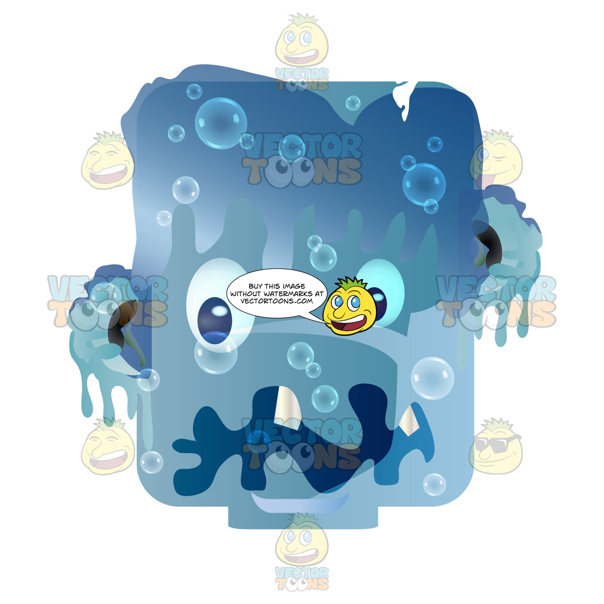 Blue Melting Monster Creature Rounded Square Block Head
