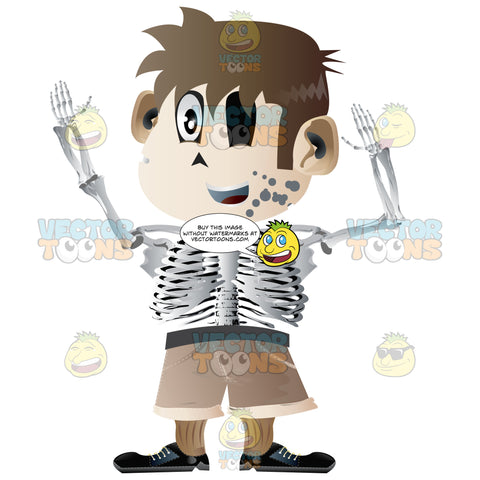 Half Boy, Half Skeleton, Wearing Brown Shorts, Sneakers, Missing An Eye