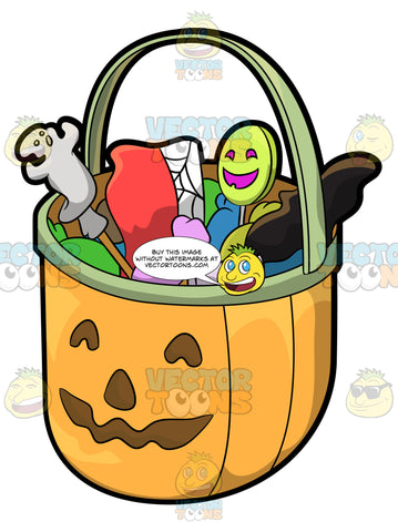 A Halloween Basket Full Of Treats