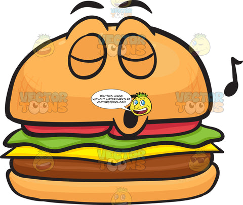 Hamburger With A Face That Is Whistling