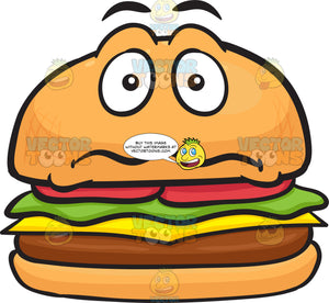Hamburger With A Scared Face