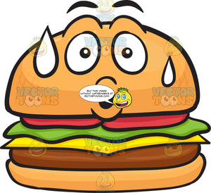 Hamburger With A Scared Face That'S Sweating