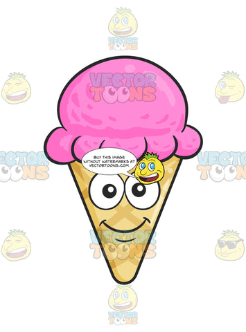 Happy And Smiling Ice Cream In Cone