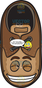 Happy Brown Shoe With Wide Smile On Face Emoji