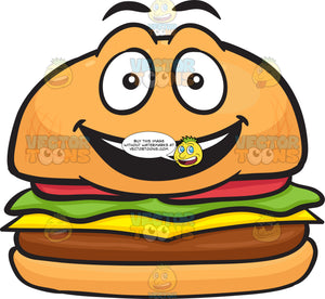 Happy Cheeseburger With Delighted Look On Face