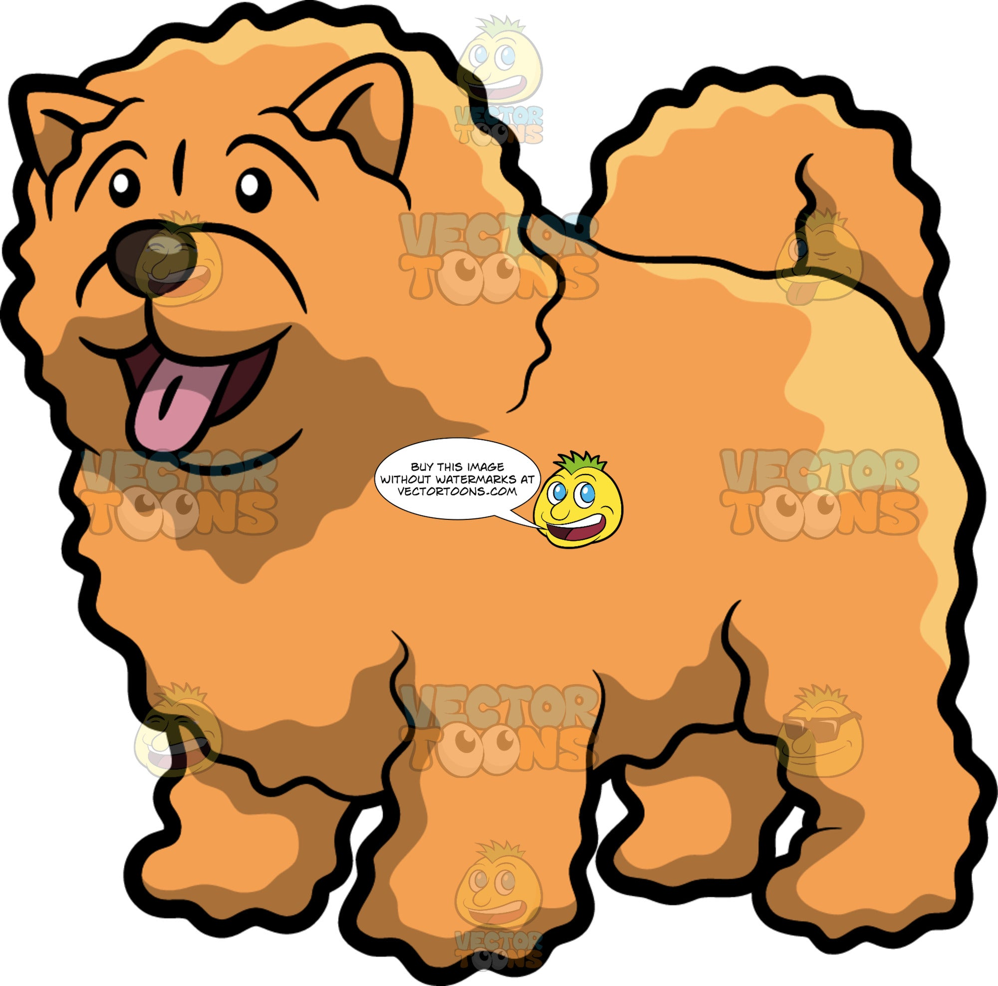 A Happy Fluffy Dog Clipart Cartoons By Vectortoons