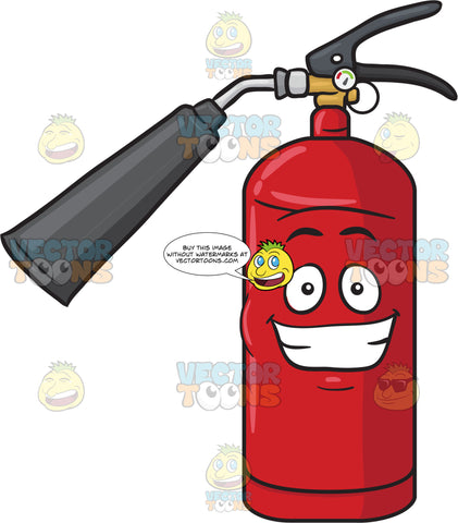 Happy Fire Extinguisher Grinning Widely Emoji