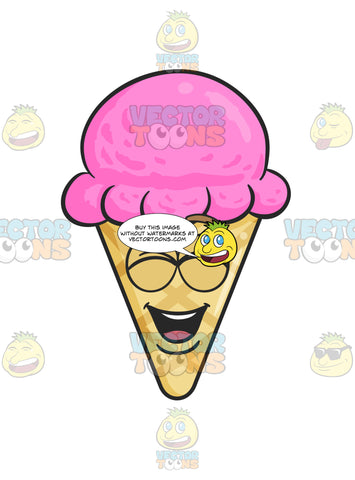 Happy Ice Cream On Cone Laughing Out Loud